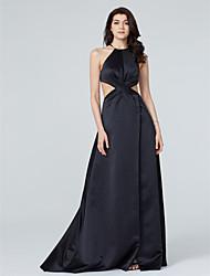 TS Couture Serata formale Vestito - Retro dell'abito decorato Linea-A All'americana Strascico a terra Raso conSpacco sul davanti A