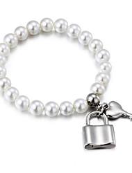 Women's Strand Bracelet Movie Jewelry Fashion Pearl Titanium Steel Heart Princess White Jewelry ForWedding Party Special Occasion
