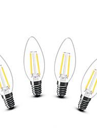 2W E14 LED svíčky C35 2 COB 200 lm Teplá bílá Ozdobné AC 220-240 V 4 ks