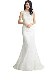 칼집 / 열 웨딩 드레스 스윕 / 브러시 기차 레이스와 보석 레이스