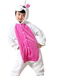 Kigurumi פיג'מות Unicorn /סרבל תינוקותבגד גוף פסטיבל/חג הלבשת בעלי חיים Halloween ורוד הדפס חיות פלנל תחפושות קוספליי להאלווין (ליל כל