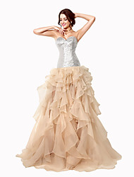 Formal Evening Dress Ball Gown Sweetheart Sweep / Brush Train Organza with Sequins