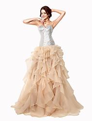 Serata formale Vestito Da ballo A cuore Strascico a terra Organza con Con strass