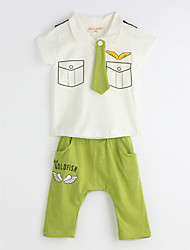 Boys' Casual/Daily Geometric Sets,Cotton Summer Short Sleeve Clothing Set