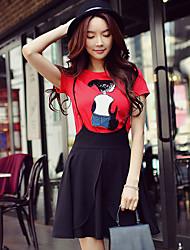 Kortærmet Rund hals Solid Medium Damer Farveblok Patchwork Sommer Sødt Gade Sofistikerede I-byen-tøj Afslappet/Hverdag Ferie T-shirt,