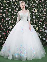Evento Formal Vestido - Floral Sexy Con Cordones Salón Joya Hasta el Suelo Encaje Tul con Cuentas Bordados Encaje Lentejuelas Ceñido