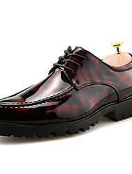 Men's Oxfords Clogs & Mules Spring Fall PU Wedding Outdoor Office & Career Casual Party & Evening Flat Heel Lace-up Others Black Red Blue