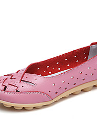 Women's Loafers & Slip-Ons Summer Fall Moccasin Comfort Leather Casual Flat Heel Light Green Light Blue Blushing Pink Red Yellow