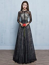 ערב רישמי שמלה - בהשראת וינטאג' שקוף גזרת A עם תכשיטים עד הריצפה תחרה עם פפיון(ים) כפתורים