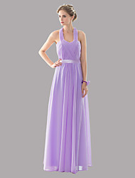 Floor-length Halter Bridesmaid Dress - Open Back Sexy Elegant Beautiful Back Lace-up Sleeveless Chiffon