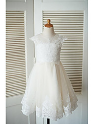 A-line Knee-length Flower Girl Dress - Lace Tulle Jewel with Beading Buttons Lace