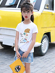 Girls' Casual/Daily Solid Print Sets,Cotton Summer Short Sleeve Clothing Set