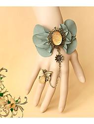 בגדי ריקוד נשים ´נערות צמידים צמידי טבעת טבע חברות עבודת יד לוליטה סגסוגת Flower Shape Leaf Shape ירוק תכשיטים לחתונה Party אירוע מיוחד