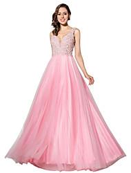 Formell kjole ballkjole v-hals gulvlengde tulle med beading
