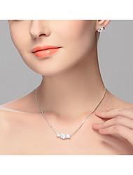 Dame Kort halskæde Legering Euro-Amerikansk Hvid Smykker For Bryllup Fest Speciel Lejlighed Fødselsdag Forlovelse Afslappet 2 Stk.