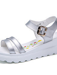 Women's Sandals Creepers Comfort Cowhide Summer Outdoor Office & Career Casual Walking Platform Sliver White 3in-3 3/4in