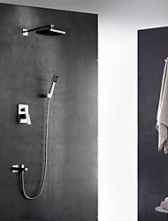 Contemporâneo Arte Deco/Retro Moderno Montagem de Parede Termostática Chuveiro Tipo Chuva Torneira Destacável with  Vãlvula Latão