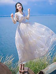 Un Pezzo/Vestiti Lolita Classica e Tradizionale Ispirazione Vintage Elegant Da principessa Cosplay Vestiti Lolita BiancoFantasia floreale