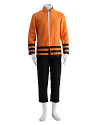 קיבל השראה מ Naruto Naruto Uzumaki אנימה תחפושות קוספליי חליפות קוספליי אחיד כתום שרוולים ארוכים מעיל מכנסיים ל