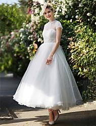 LAN TING BRIDE A-라인 웨딩 드레스 - 클래식&타임레스 빈티지 스타일 발목 길이 하이 넥 레이스 튤 와 허리끈 / 리본