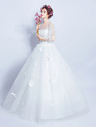 Ball Gown Wedding Dress Floor-length Jewel Satin Tulle with Lace