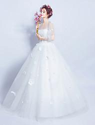 볼 드레스 웨딩 드레스 바닥 길이 쥬얼리 새틴 튤 와 레이스