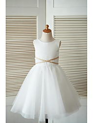 A-line Knee-length Flower Girl Dress - Satin Tulle Scoop with Appliques