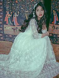 Uma-Peça/Vestidos Lolita Clássica e Tradicional Inspiração Vintage Elegant Princesa Cosplay Vestidos Lolita Branco Floral Rendas Vintage