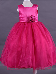 Ball Gown Tea-length Flower Girl Dress - Satin Tulle Scoop with Flower(s)