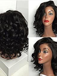 ブラジルの処女の髪のフルレース人間の髪のかつら黒い女性のための緩い波レースのフロントウィッグ短い髪の赤ちゃんの髪