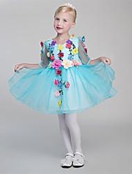 A-line Knee-length Flower Girl Dress - Organza Satin Chiffon V-neck with Flower(s)