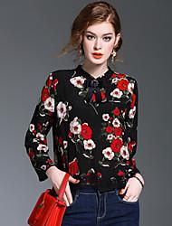 Camicia Da donna Per uscire Casual RomanticoCon stampe Colletto alla coreana Poliestere Manica lunga Medio spessore