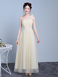 Ankle-length One Shoulder Bridesmaid Dress - Elegant Sleeveless Satin Tulle