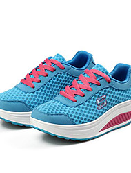 Women's Athletic Shoes Spring Summer Fall Comfort Light Soles Tulle Outdoor Athletic Casual Running Wedge Heel Lace-upBlushing Pink Blue