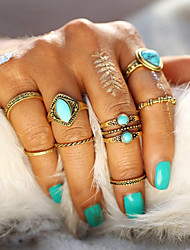 8PCS/Set Vintage Jewelry Tibetan Geometric Gold Color Ring Set for Women Man Anillos Punk Boho Turquoise Knuckle Rings Wedding Accessories