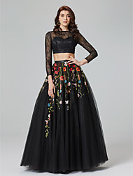 TS Couture 포멀 이브닝 드레스 - 시쓰루 투피스 A-라인 보트넥 바닥 길이 레이스 튤 와 아플리케