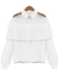 Dames Sexy Polo,Casual/Dagelijks Effen Overhemdkraag Lange mouw Katoen Dun