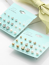 9Pairs Stud Earrings Earrings Set Imitation Pearl Rhinestone Basic Multi-ways Wear Imitation Pearl Alloy Round Ball Silver Jewelry ForWedding
