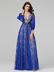 TS Couture ערב רישמי שמלה - שקוף סגנון של מפורסמים מעטפת \ עמוד צווארון וי עד הריצפה תחרה עם אפליקציות חרוזים נצנצים