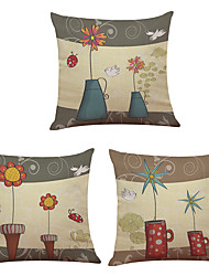 Set of 3  Happy Little Flowers Pattern  Linen Pillowcase Sofa Home Decor Cushion Cover
