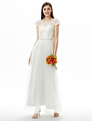 LAN TING BRIDE Ankle-length Jewel Bridesmaid Dress - Open Back Short Sleeve Lace Tulle