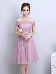 Short / Mini Off-the-shoulder Bridesmaid Dress - Elegant Short Sleeve Satin Tulle
