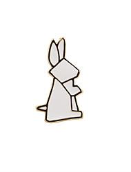 Fashion Trendy Cute White Folded Rabbit Metal Brooch