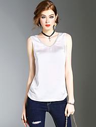 Dames Eenvoudig Schattig Street chic Zomer T-shirt,Uitgaan Casual/Dagelijks Strand Effen V-hals Mouwloos Polyester Medium