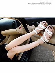 Sandalias de las mujeres primavera comodidad PU casual marrón negro blanco