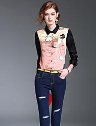 Damen Druck Einfach Niedlich Street Schick Ausgehen Formal Arbeit Hemd,Hemdkragen Frühling Herbst Langarm Polyester Mittel