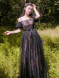 Uma-Peça/Vestidos Lolita Clássica e Tradicional Transparente Inspiração Vintage Elegant Princesa Cosplay Vestidos Lolita BrancoFloral