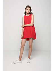 Feminino Solto Reto Vestido,Para Noite Casual Simples Moda de Rua Sólido Com Alças Longo Sem Manga Algodão Primavera Verão Cintura Média