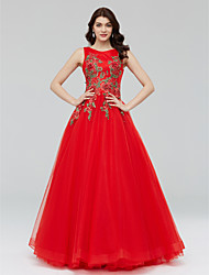 ערב רישמי שמלה - פרחוני גזרת A עם תכשיטים עד הריצפה טול עם אפליקציות פרטים מקריסטל פרח(ים) סגנון רצועות תחבושות