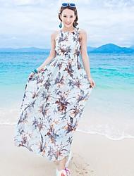 Feminino balanço Vestido,Praia Floral Nadador Longo Sem Manga Seda Verão Cintura Média Micro-Elástica Fina